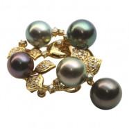 Tahiti perler: kobber-rød, brun, pistacie, peacock, sølv-grå