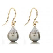 Tahiti perle øreringe. Perlen: Marc'Harit.